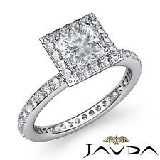 Princess Diamond GIA F VS2 18k White Gold Halo Pave Set Engagement Ring 2.05ct