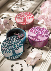 Tree of Life Handcarved Soapstone Trinket Box, Fair Trade, Choice of 4 Colours