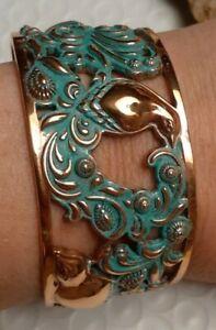Handmade Artisan Bird Motif Copper Patina Cuff Bracelet Size Average Large