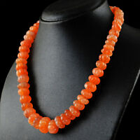 472.00 Cts Natural Single Strand Orange Carnelian Round Carved Beads Necklace