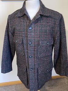 VTG CHIPPEWA Woolen Mills Gray Red Plaid Mackinaw Shirt Jacket Hunting Sz 42