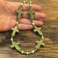 "#1159 Green Stone Crosses 18"" Necklace, Mother Of Pearl, Sterling Silver"