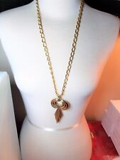 Large Gold Tone Abstract Pendant Necklace Vintage