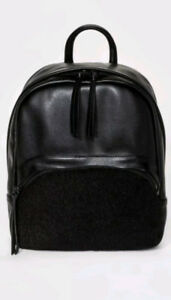 NEW Women's Faux Leather and Faux Fur Mini Backpack - Mossimo Supply Co.- Black