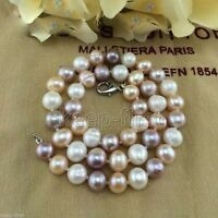 """AAA++ Genuine Natural 9-10mm White Pink Purple Freshwater Pearl Necklace 18"""""""