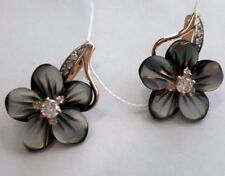 Black mother of pearl, CZs flower earrings russian solid rose gold 585/14k NWT
