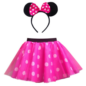 Ladies / Girls PINK Minnie Mouse Costume Fancy Dress Accessory Set Ears Tail