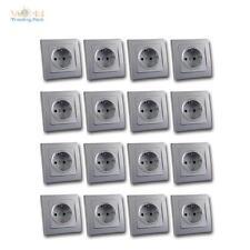 DELPHI 16er Set Schutzkontakt Steckdose silber 250V~ 16A Klemmanschluß UP Rahmen