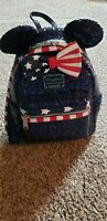 Disney Parks Loungefly Minnie Sequins Backpack Red White And Blue stars& stripes