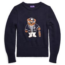 Ralph Lauren Purple Label Wool Leather Polo Cricket Bear Sweater S New