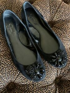 Jessica Simpson Jeweled Bling Black Suede Ballet Flats Sparkle 9M Excellent