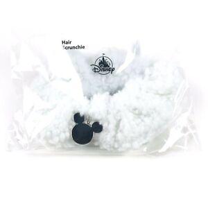 Disney Parks Adult White Sherpa Fleece Hair Scrunchie Mickey Icon Charm NEW