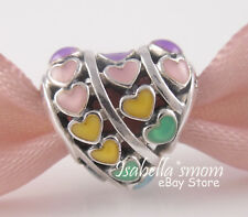 RAINBOW HEARTS Authentic PANDORA 2018 Colorful ENAMEL HEART Charm 797019ENMX NEW