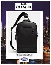 NWT COACH MEN'S GRAHAM Sling Pack Messenger X-body Bag In BLACK Smooth Leather