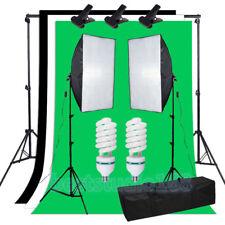 Photo Studio Softbox Soft Box Lighting 3 Backdrop + Background Support Stand Kit