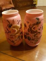 VINTAGE BOHEMIAN CZECH CASED GLASS PINK AND WHITE HAND PAINTED PAIR OF VASES