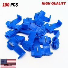 100 PCS Blue Quick Splice Tap Wire Terminal Connector 14-18 AWG Gauge