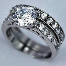 Platinum/Steel Alloy 2.19 Carat Simulated Moissanite Matched Rings Size 6+1/4