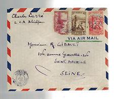 1945 Abidjan  Ivory Coast Airmail cover to Seine France