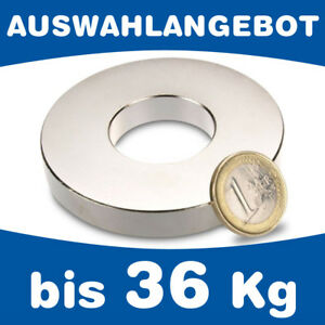 Neodym Ringmagnet Magnetring, Haftkraft bis 36kg - AUSWAHL - starke Supermagnete