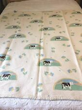 Vintage Reversible Cotton Throw Blanket Flowers Cows Mora Made in Spain Pretty
