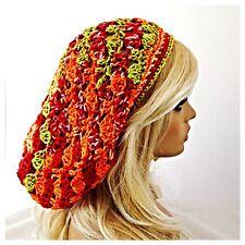 NEW Handmade Soft & Baggie SLOUCHY Beanie Tam Hat FLASHBACK Orange Red & Green