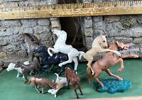 Vintage Plastic Animals Lot Horses Mares Stallions Pony Mule Figures Toys 012