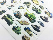 75x Army Tanks Guns PVC Stickers for Lunch box Pencil Case Diary Bike Toys Play