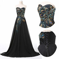Applique Peacock Formal Evening Cocktail Prom Dresses Gown Bridesmaid Maxi Dress