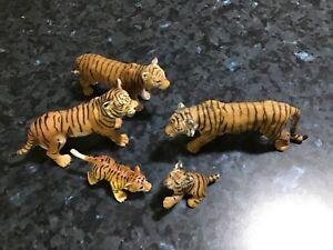 SCHLEICH  animals lot tiger x 5 very good clean condition