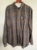 Columbia Men's Button Down Flannel Long Sleeve Shirt Plaid Brown XL EUC