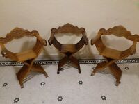 Vintage set 2 +1 hand carved Savonarola Dante chairs with lion heads 3 total