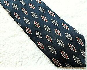 Vintage PURITAN Mens Necktie Tie Cravat 56.5 x 4 Silk Navy Blue Domin. Republic