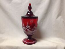 FENTON GLASS HANDPAINTED RUBY CANDY BOX  #7380 SQ