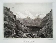 Tomasee Lago di Toma  Canton Graubünden   Schweiz  echter alter Stahlstich 1850