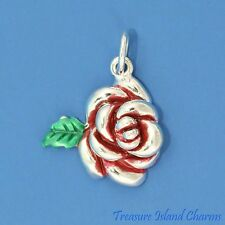 Enamel Red Rose Flower With Leaf .925 Solid Sterling Silver Charm