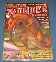 Thrilling Wonder Stories Oct 1937 Pulp Magazine Classic St. John Dinosaur Cover