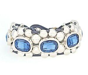 New UNO De 50 Silver Tone Ecstasy Make It Happen Blue Crystals Bracelet M L