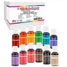12 Color Cake Food Coloring Liqua-Gel Primary Set .75 fl. Oz. (20ml) Bottles