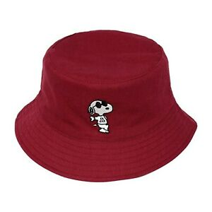 Peanuts Snoopy Joe Cool Solid Comic Patterned Reversible Red Bucket Hat One Size