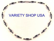 "Black and Pearl Magnetic Hematite 20"" Strand Necklace HN23P"