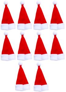 10 Mini Santa Hat Bottle Toppers Christmas Pub Restaurant Table Decoration Cover