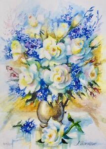 """ANA ROSENBLAT """"YELLOW ROSES"""" Hand Signed Limited Edition Serigraph Flower Art"""