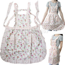 New Women Home Kitchen Cooking Bib Flower Style Pocket Lace Apron Dress Gift