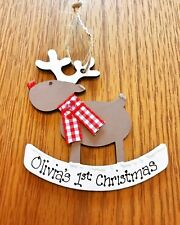Personalised Christmas Tree Decoration Reindeer Baby's 1st First Xmas