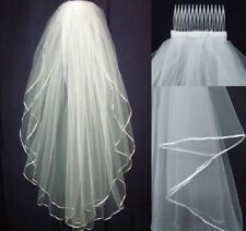 2 Tier Ivory Bridal Wedding Veil Elbow Length with Comb Handmade