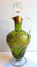 Carafe aiguière piriforme, cristal torse BACCARAT vert émaillé Or style Louis XV