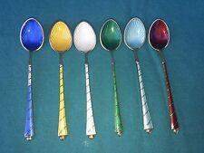 ELA Denmark Guilloche Enameled Sterling Silver Demitasse Spoons - Set of 6