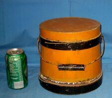 AAFA Early Antique New England Wood Firkin Sugar Bucket Org Mustard/Black Paint!