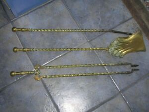SALE Early Victorian Antique Brass Long FIRE COMPANION SET Stove Fireplace 28ins